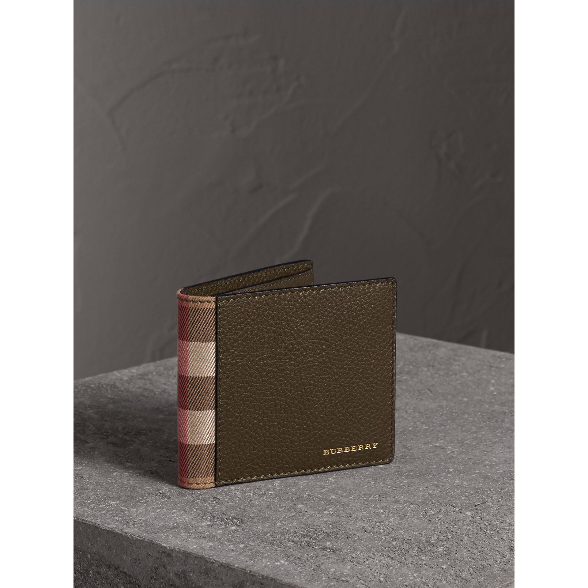 Leather and House Check International Bifold Wallet in Sage - Men | Burberry - gallery image 1