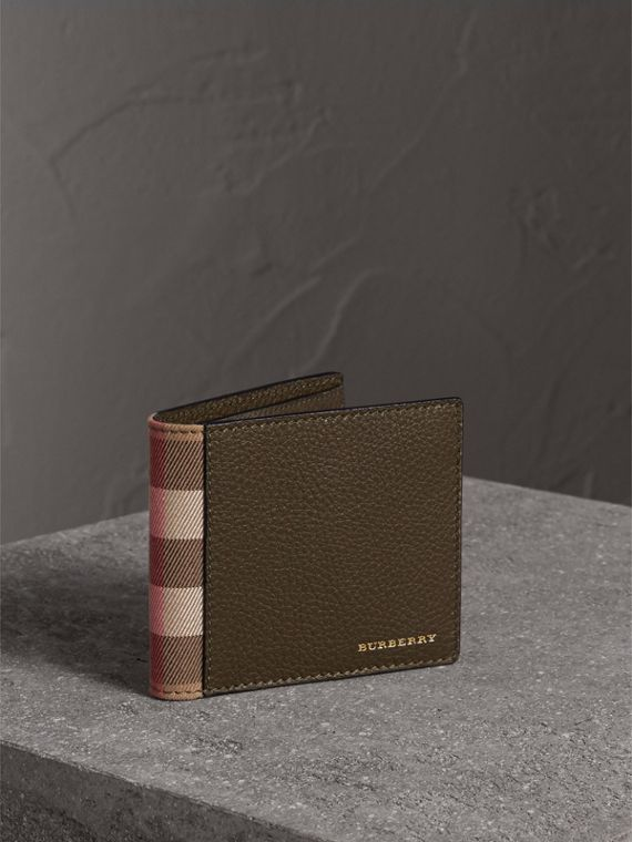 Leather and House Check International Bifold Wallet in Sage