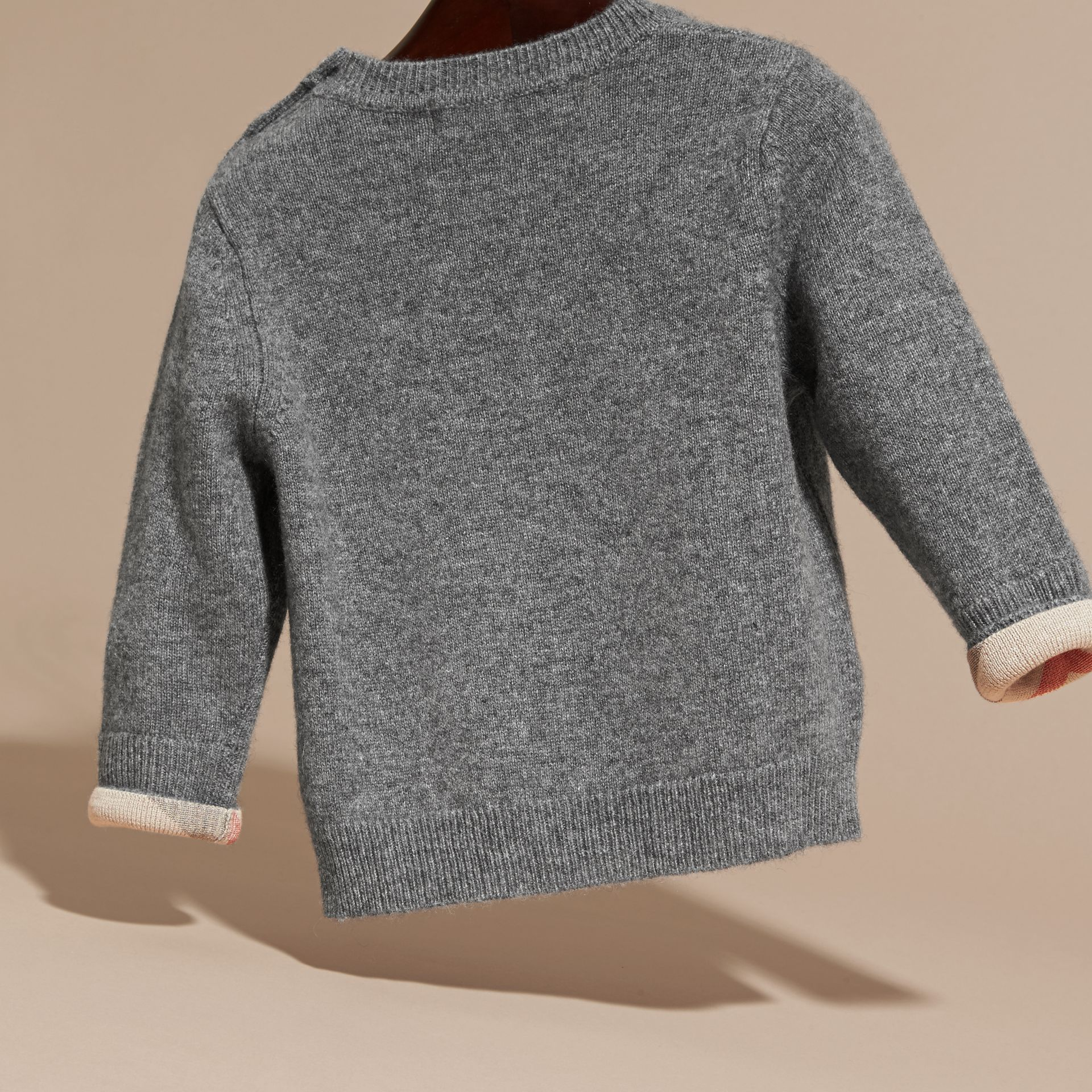 Check Detail Cashmere Sweater in Mid Grey Melange | Burberry - gallery image 4