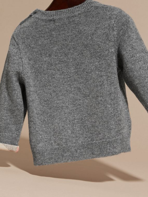 Check Detail Cashmere Sweater in Mid Grey Melange | Burberry United States - cell image 3