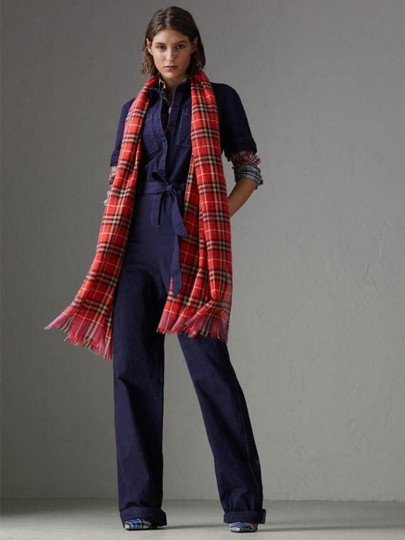Check Wool Silk Scarf in Bright Orange Red | Burberry Singapore - cell image 2