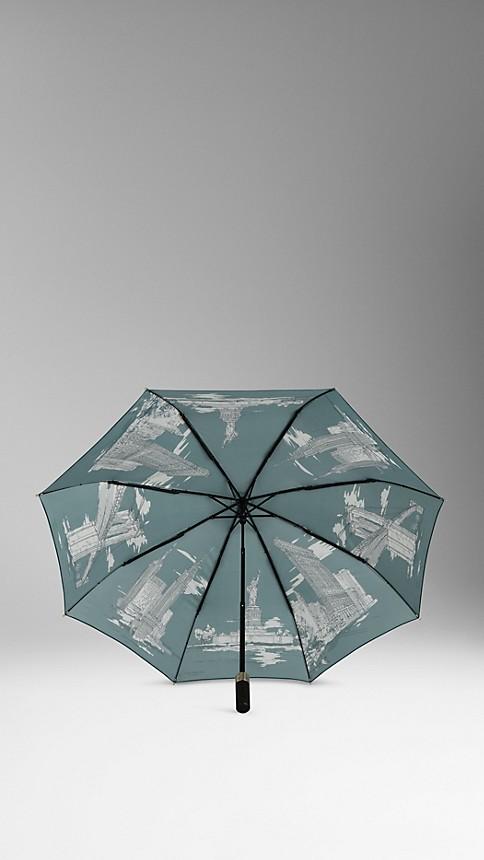 Dark cyan New York Landmarks Folding Umbrella - Image 2