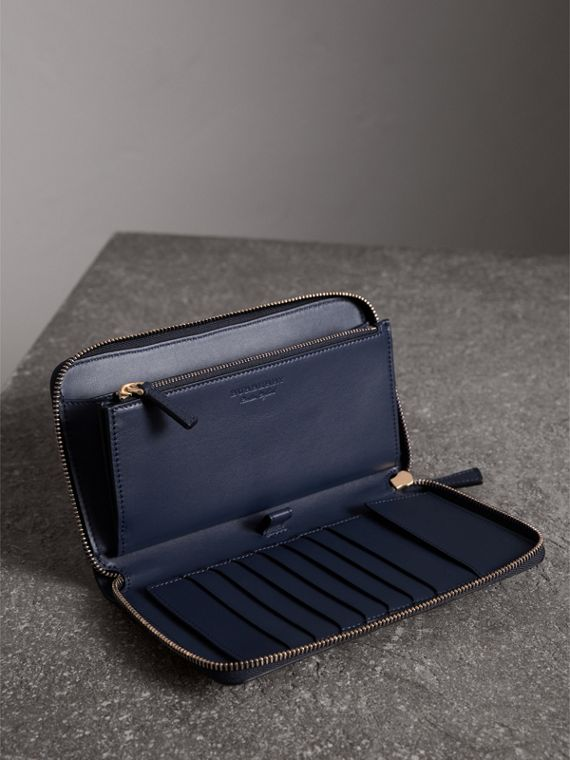Trench Leather Ziparound Wallet in Ink Blue - Men | Burberry - cell image 3