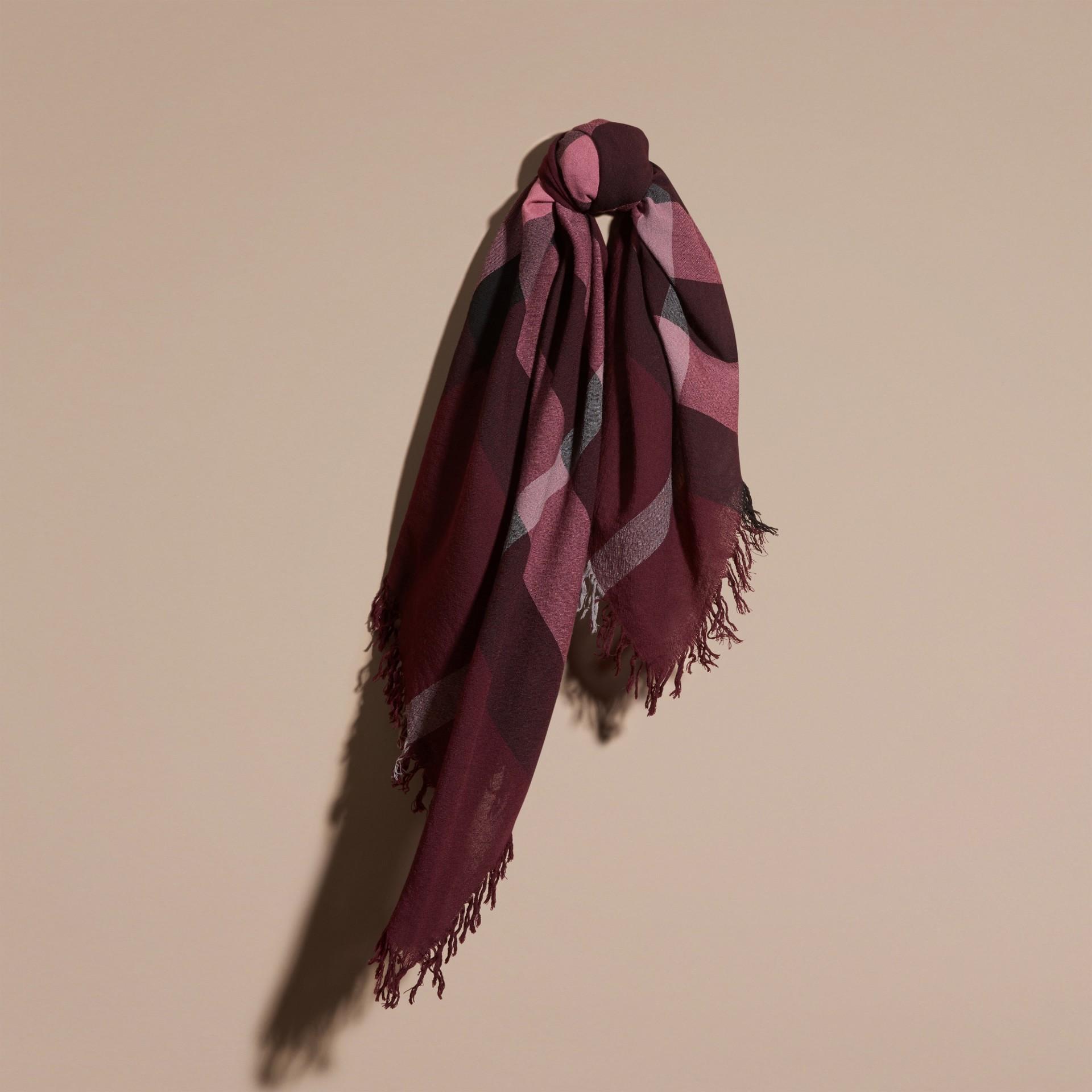 Garnet pink Check Wool Square - Large Garnet Pink - gallery image 1