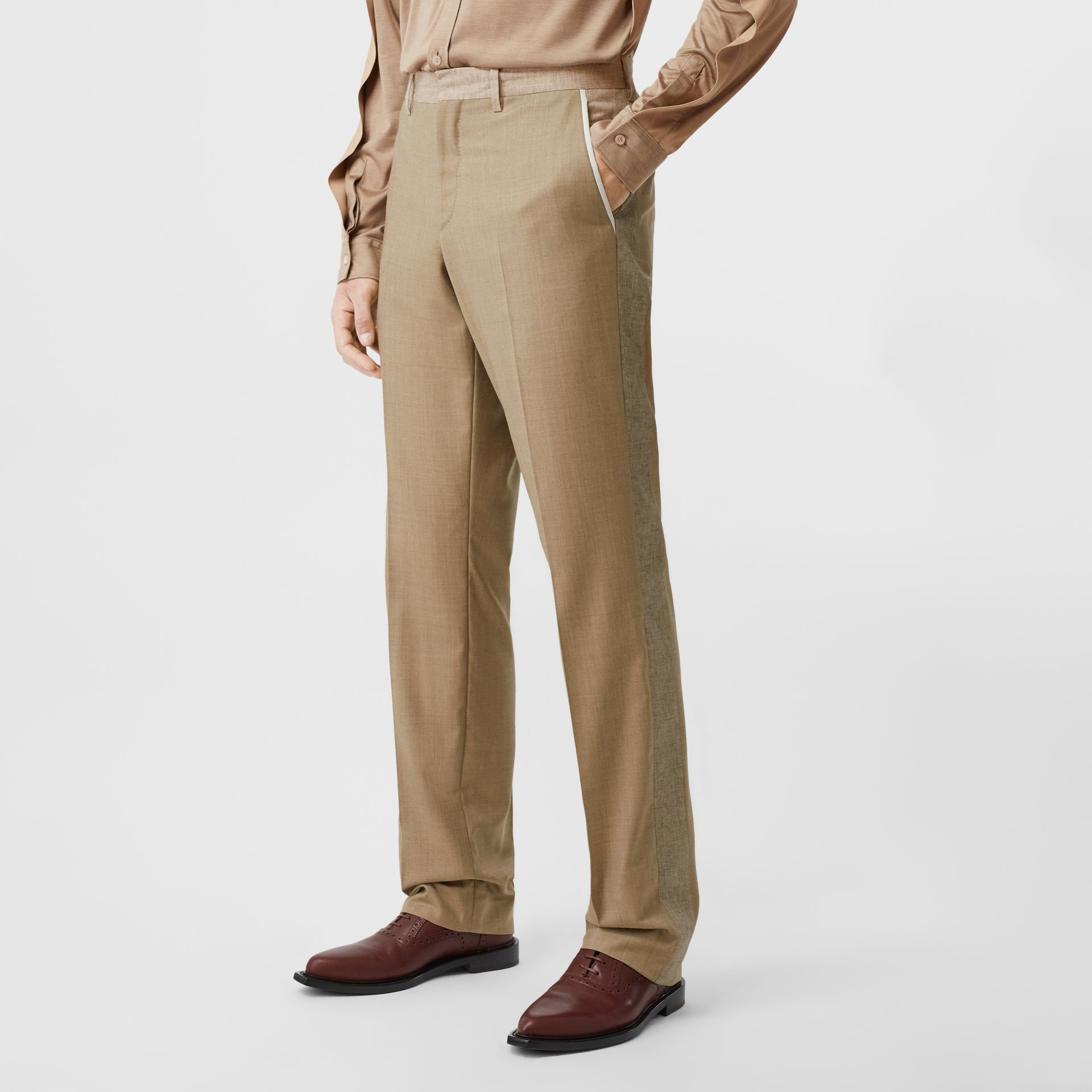 English Fit Wool Cashmere and Linen Tailored Trousers in Pecan Melange | Burberry - gallery image 4