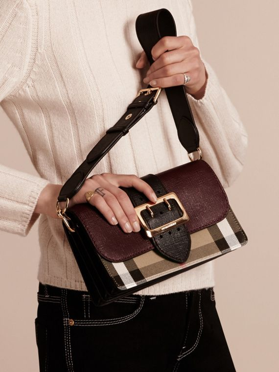 Burgundy/black The Medium Buckle Bag in House Check and Textured Leather Burgundy/black - cell image 3