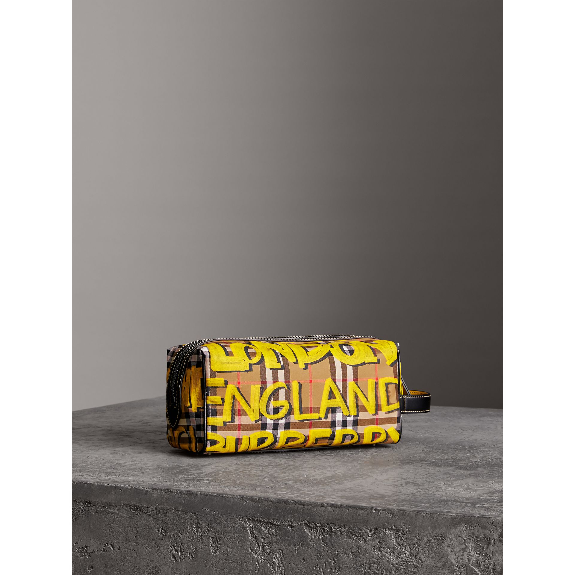 Graffiti Print Vintage Check and Leather Pouch in Bright Yellow/antique Yellow | Burberry - gallery image 6