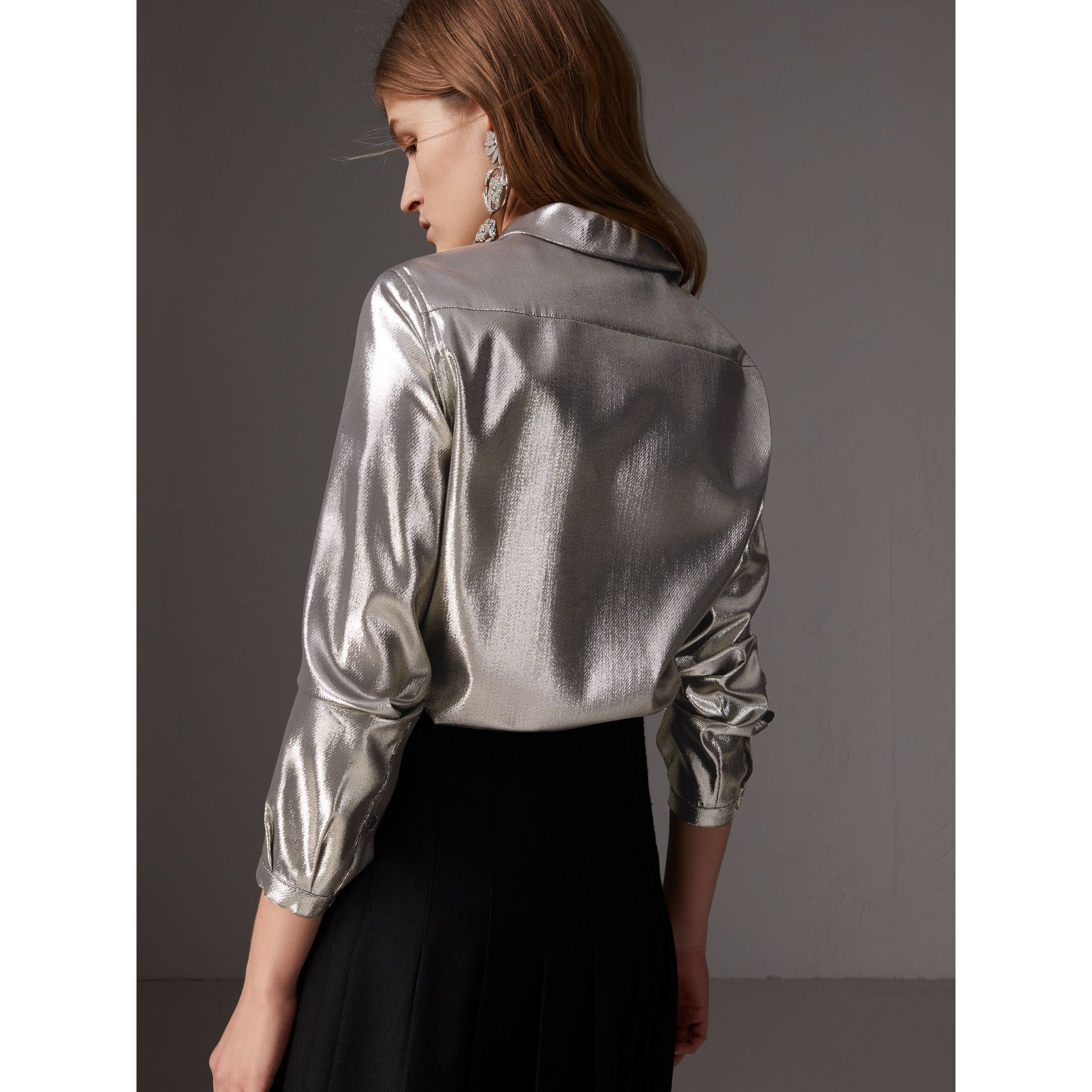 Pintuck Detail Silk Lamé Shirt in Silver - Women | Burberry - gallery image 3