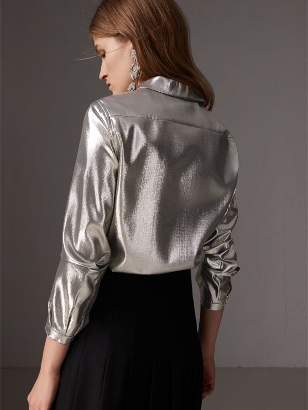 Pintuck Detail Silk Lamé Shirt in Silver - Women | Burberry United Kingdom - cell image 2