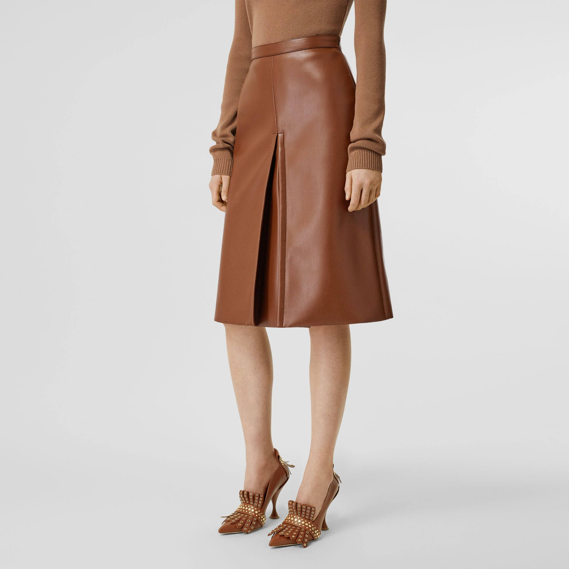 Box Pleat Detail Faux Leather Skirt in Dark Cheshnut Brown - Women | Burberry - gallery image 4