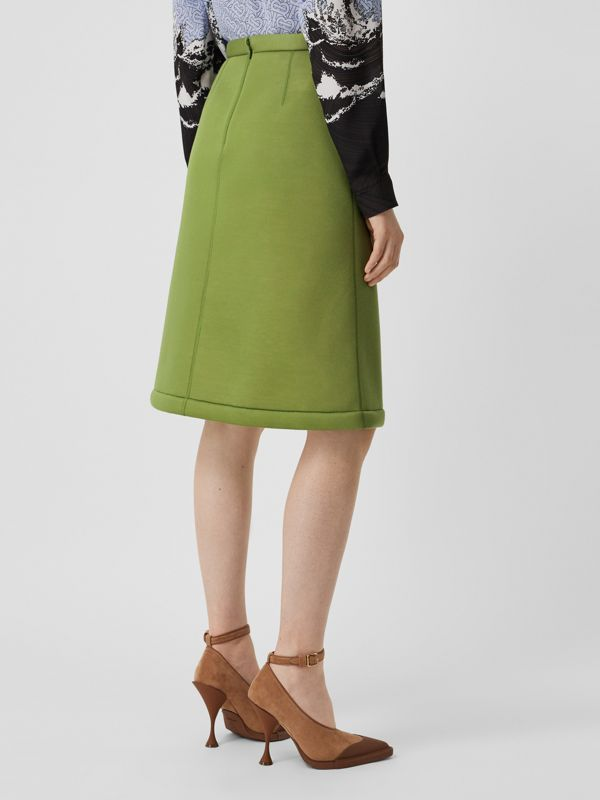 Double-faced Neoprene Skirt in Cedar Green - Women | Burberry - cell image 2