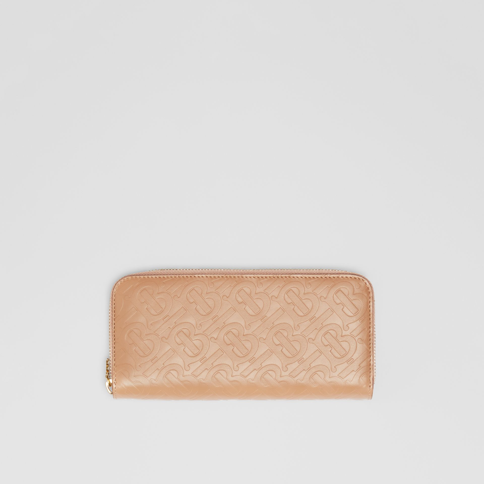 Monogram Leather Ziparound Wallet in Light Camel - Women | Burberry - gallery image 0
