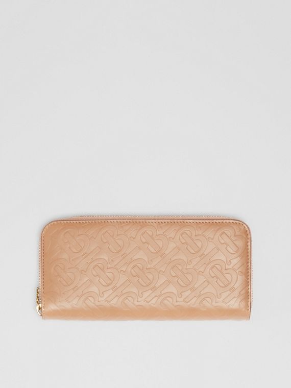 Monogram Leather Ziparound Wallet in Light Camel