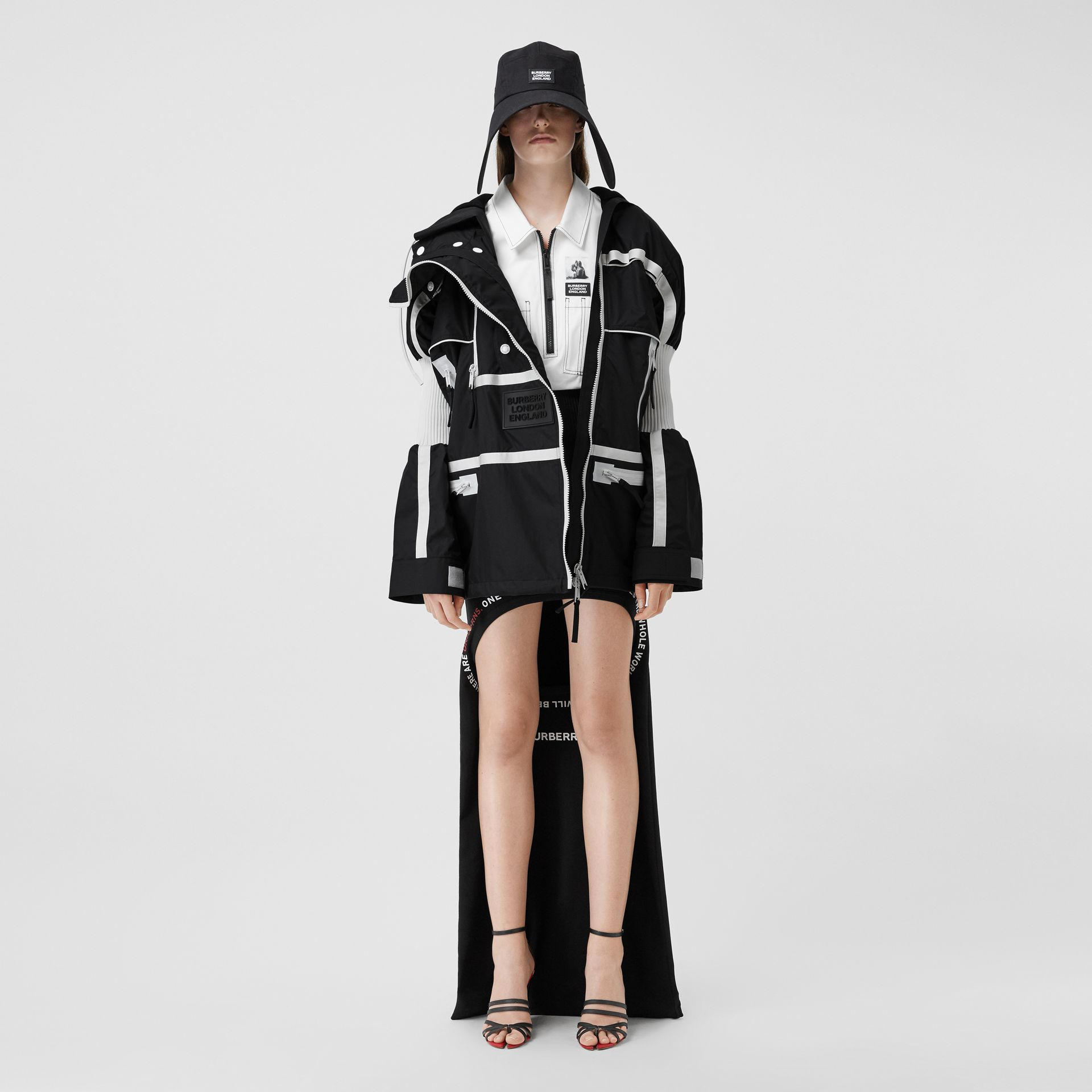 Two-tone Nylon Reconstructed Track Jacket in Black - Women | Burberry - gallery image 0