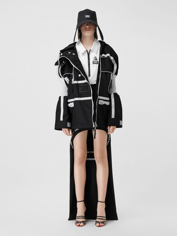 Two-tone Nylon Reconstructed Track Jacket in Black