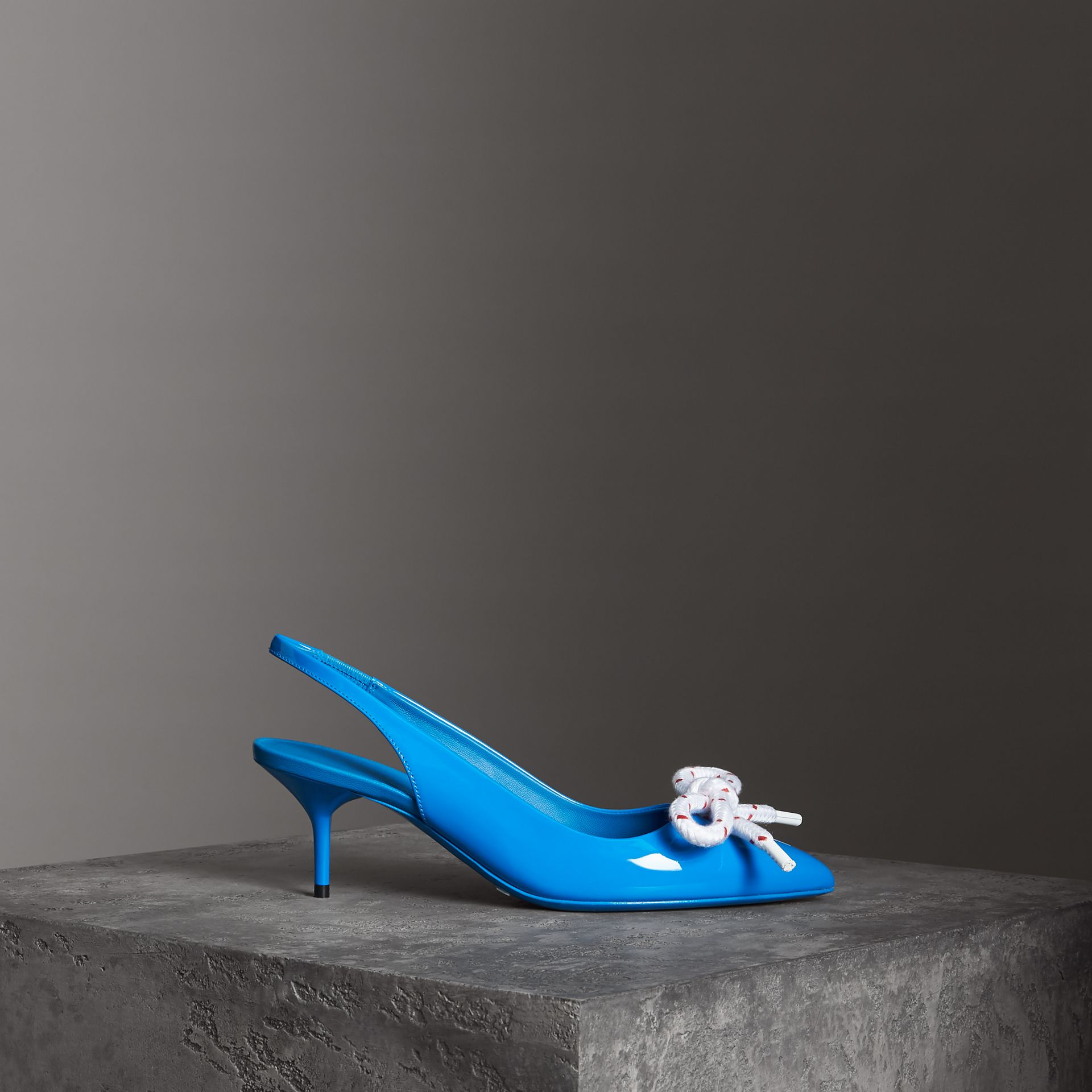 Rope Detail Patent Leather Slingback Pumps in Blue Azure - Women | Burberry - gallery image 0