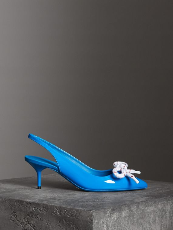 Rope Detail Patent Leather Slingback Pumps in Blue Azure