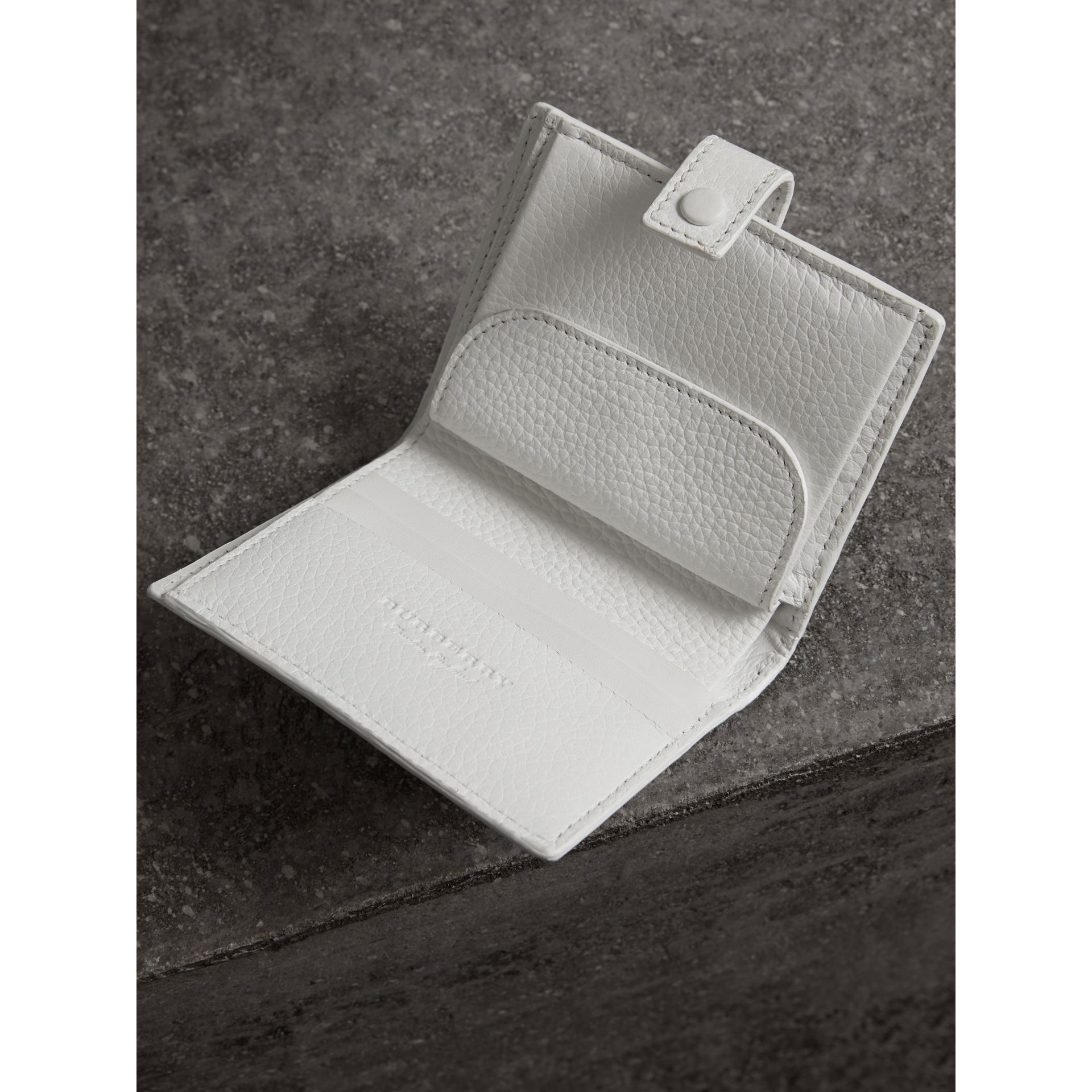 Embossed Leather Folding Wallet in Chalk White - Women | Burberry - gallery image 3