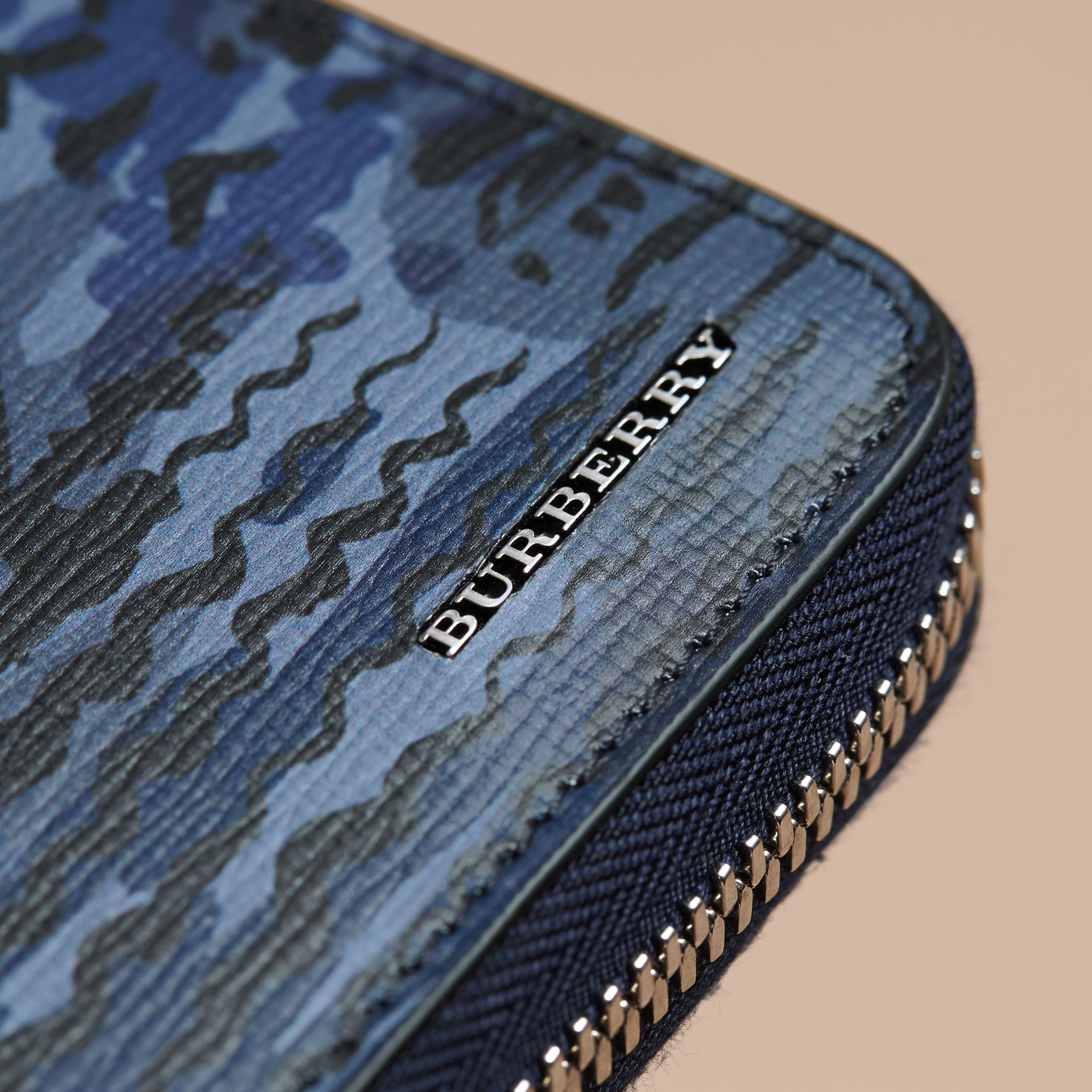 British Seaside Print London Leather Ziparound Wallet in Bright Navy - gallery image 2