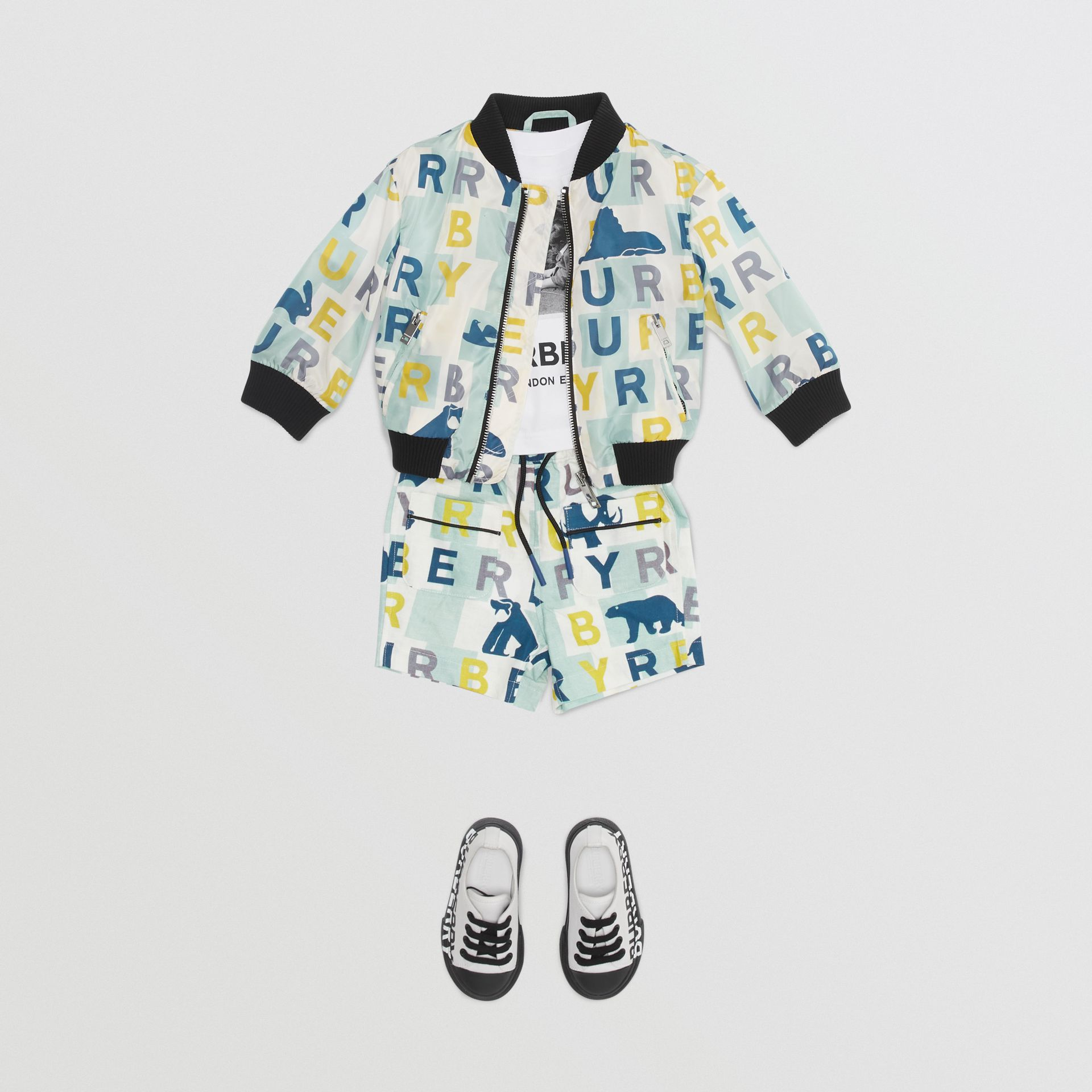 Logo Print Nylon Bomber Jacket in Pale Mint - Children | Burberry - gallery image 2