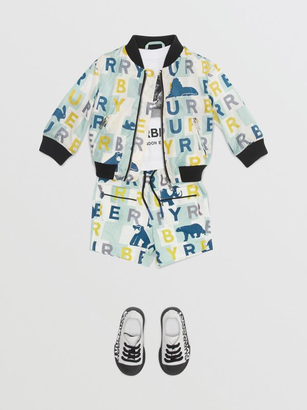 Logo Print Nylon Bomber Jacket in Pale Mint - Children | Burberry - cell image 2