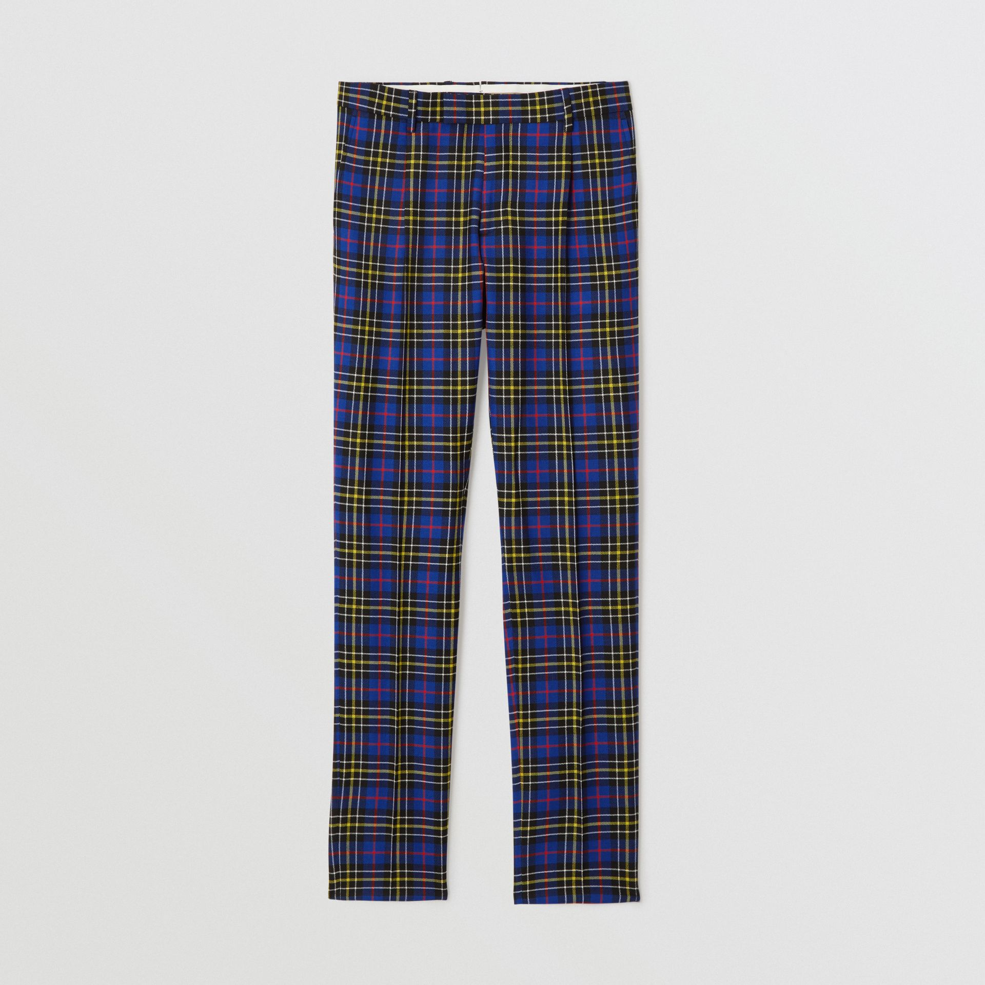 Soho Fit Tartan Wool Tailored Trousers in Sapphire Blue - Men | Burberry Australia - gallery image 3