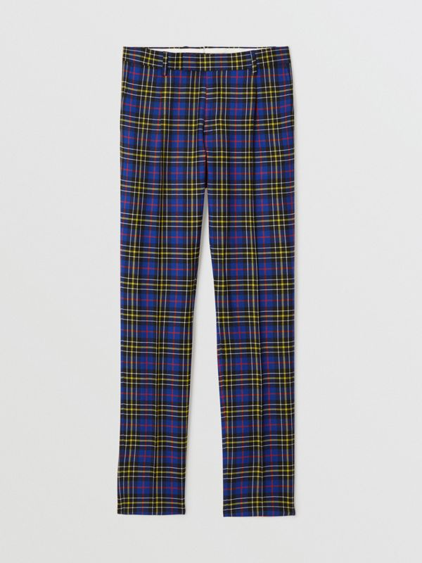 Soho Fit Tartan Wool Tailored Trousers in Sapphire Blue - Men | Burberry Australia - cell image 3