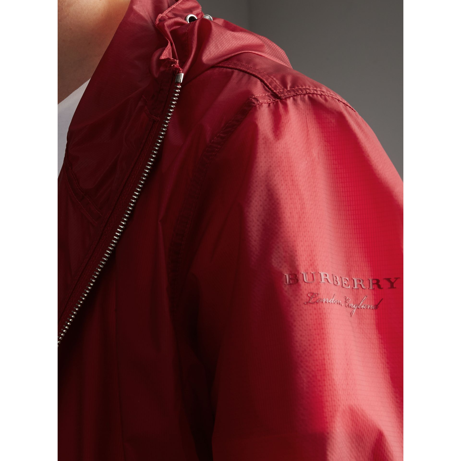 Hooded Super-lightweight Jacket in Crimson Pink - Men | Burberry Australia - gallery image 2