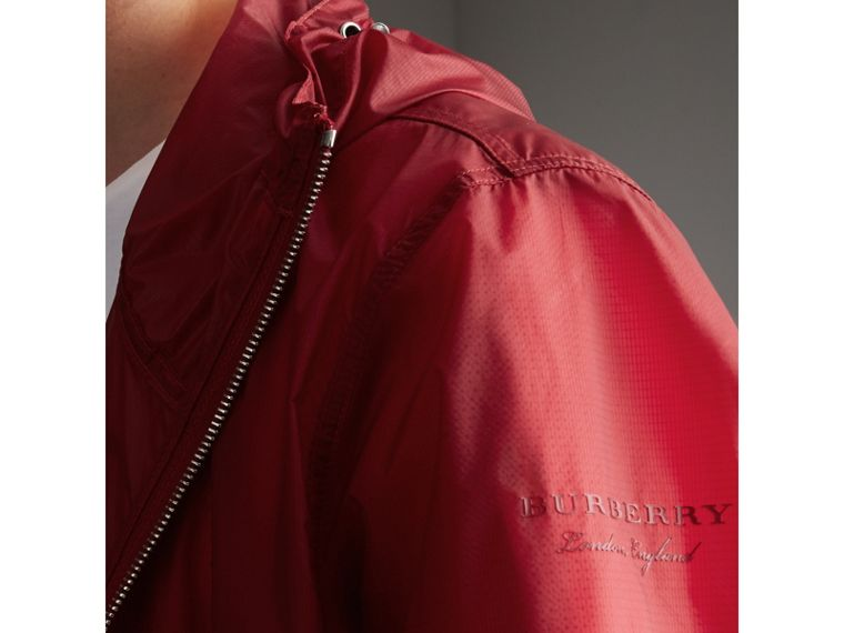 Hooded Super-lightweight Jacket in Crimson Pink - Men | Burberry Australia - cell image 1