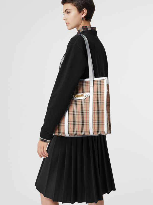 The Small 1983 Check Link Tote Bag in Silver - Women | Burberry - cell image 3