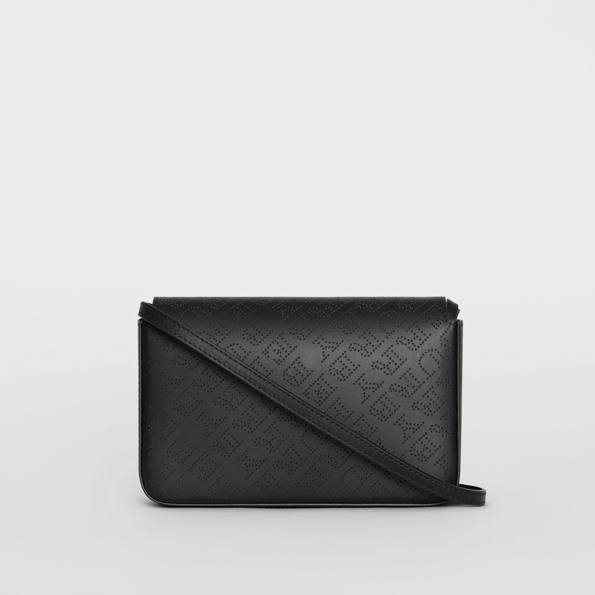 Perforated Logo Leather Wallet with Detachable Strap in Black - Women | Burberry - gallery image 5