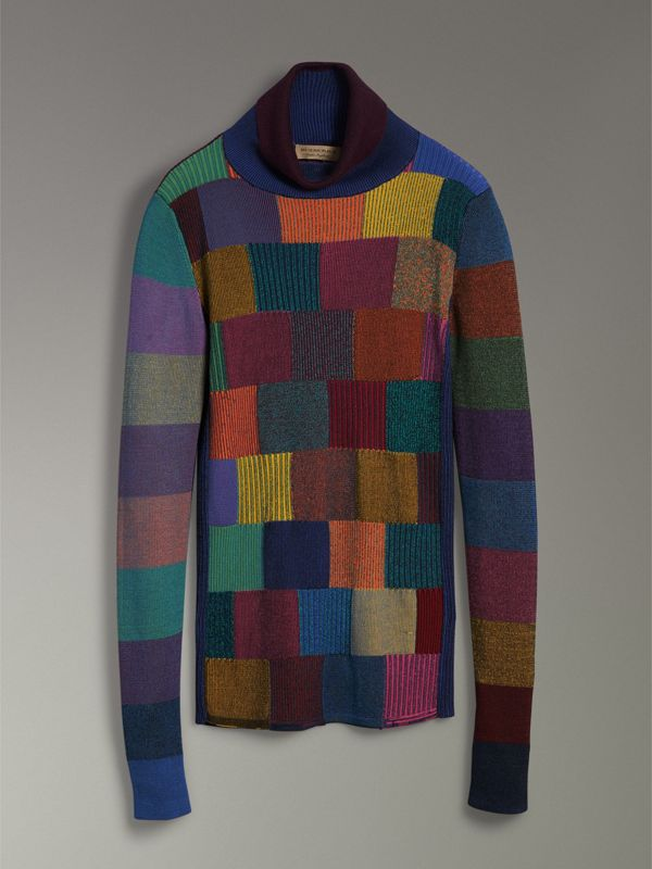 Patchwork Cotton Blend Roll-neck Sweater in Amber - Women | Burberry United States - cell image 3