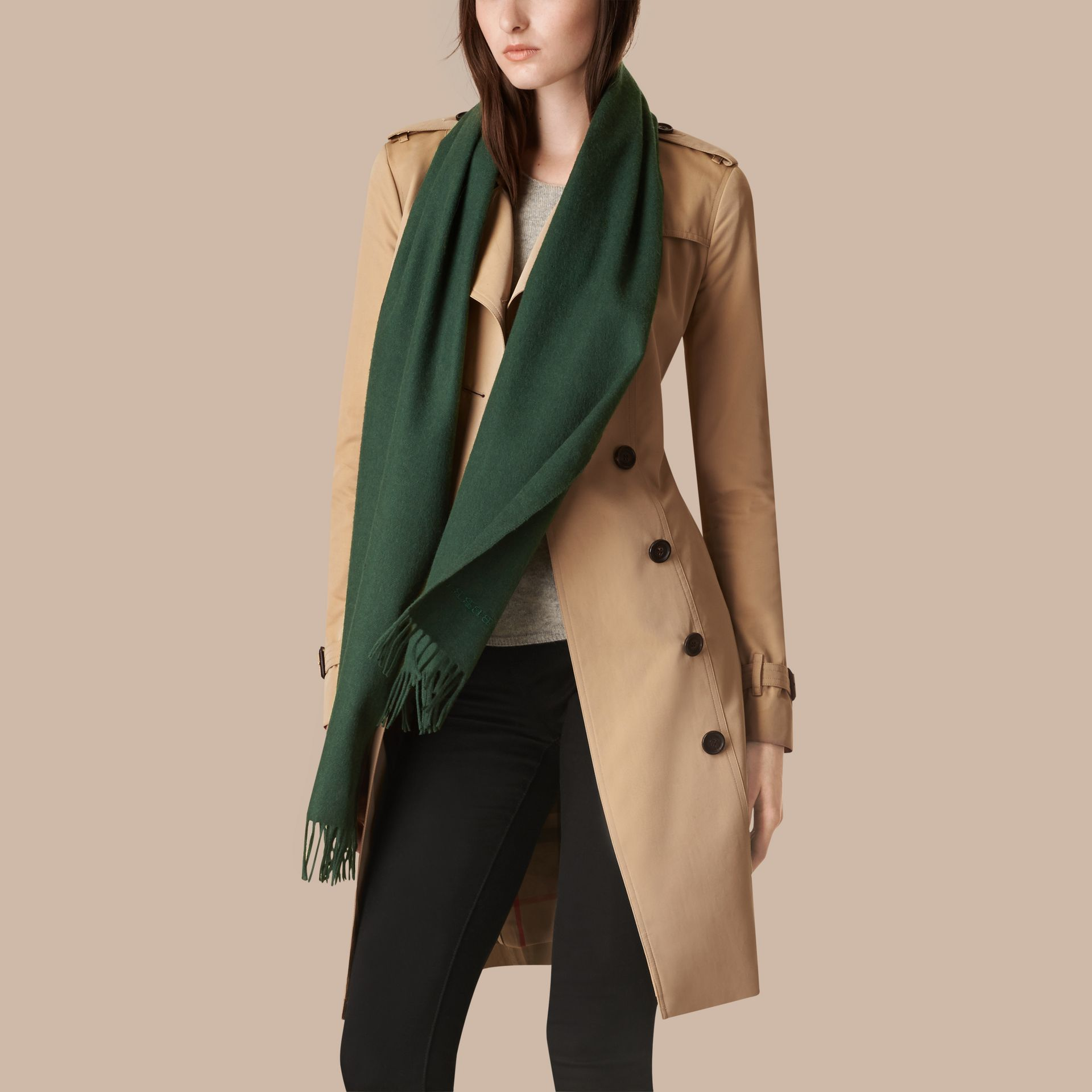 Dark forest green The Classic Cashmere Scarf Dark Forest Green - gallery image 3
