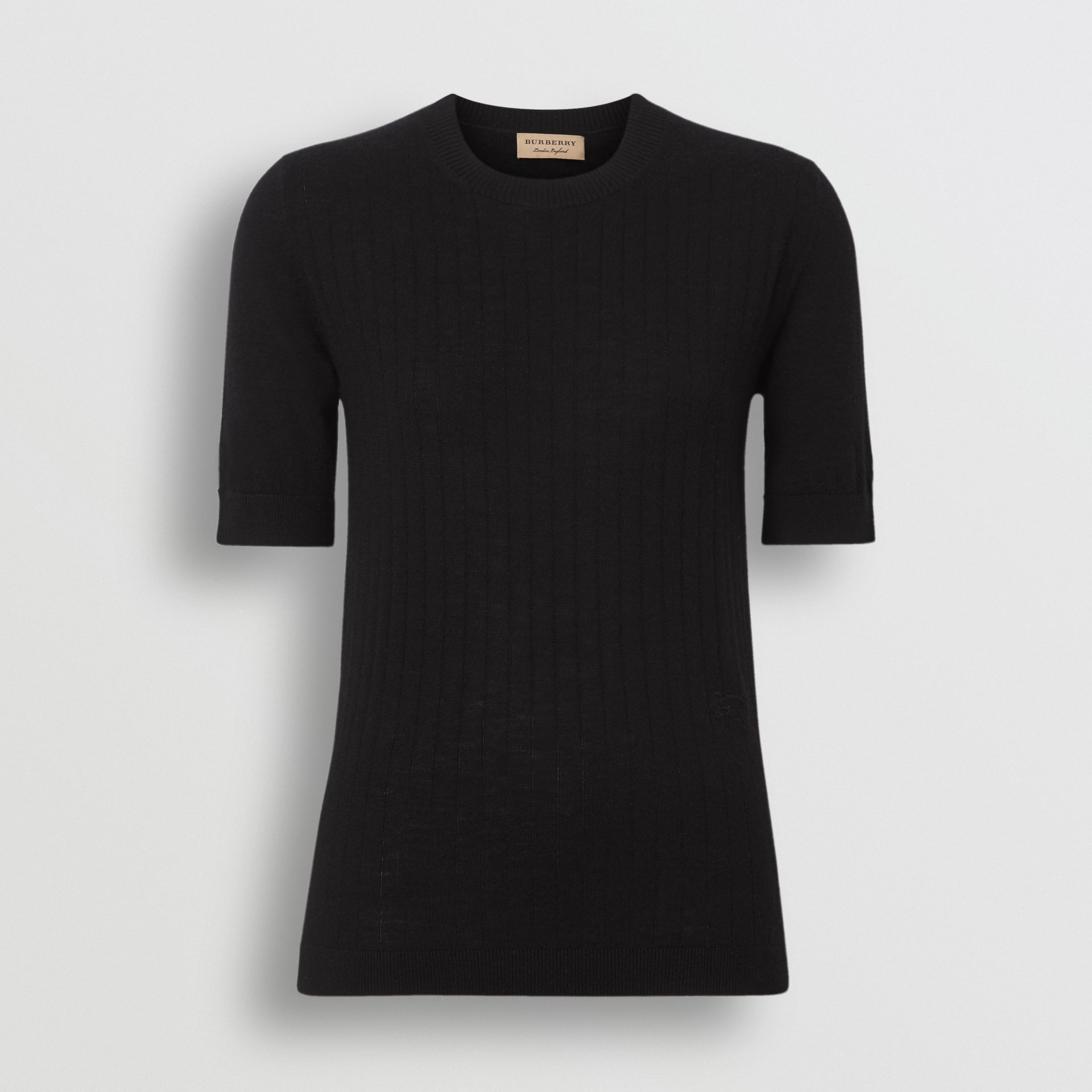 Short-sleeve Rib Knit Cashmere Sweater in Black - Women | Burberry - gallery image 3