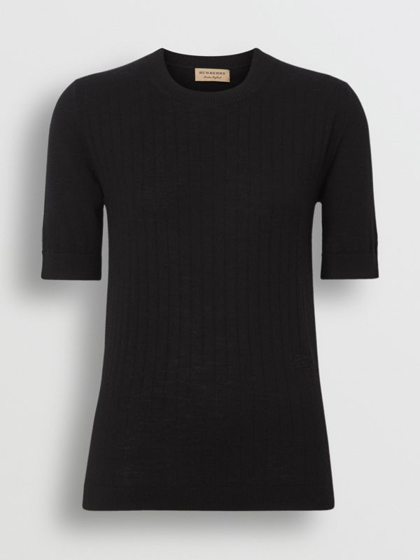 Short-sleeve Rib Knit Cashmere Sweater in Black - Women | Burberry - cell image 3