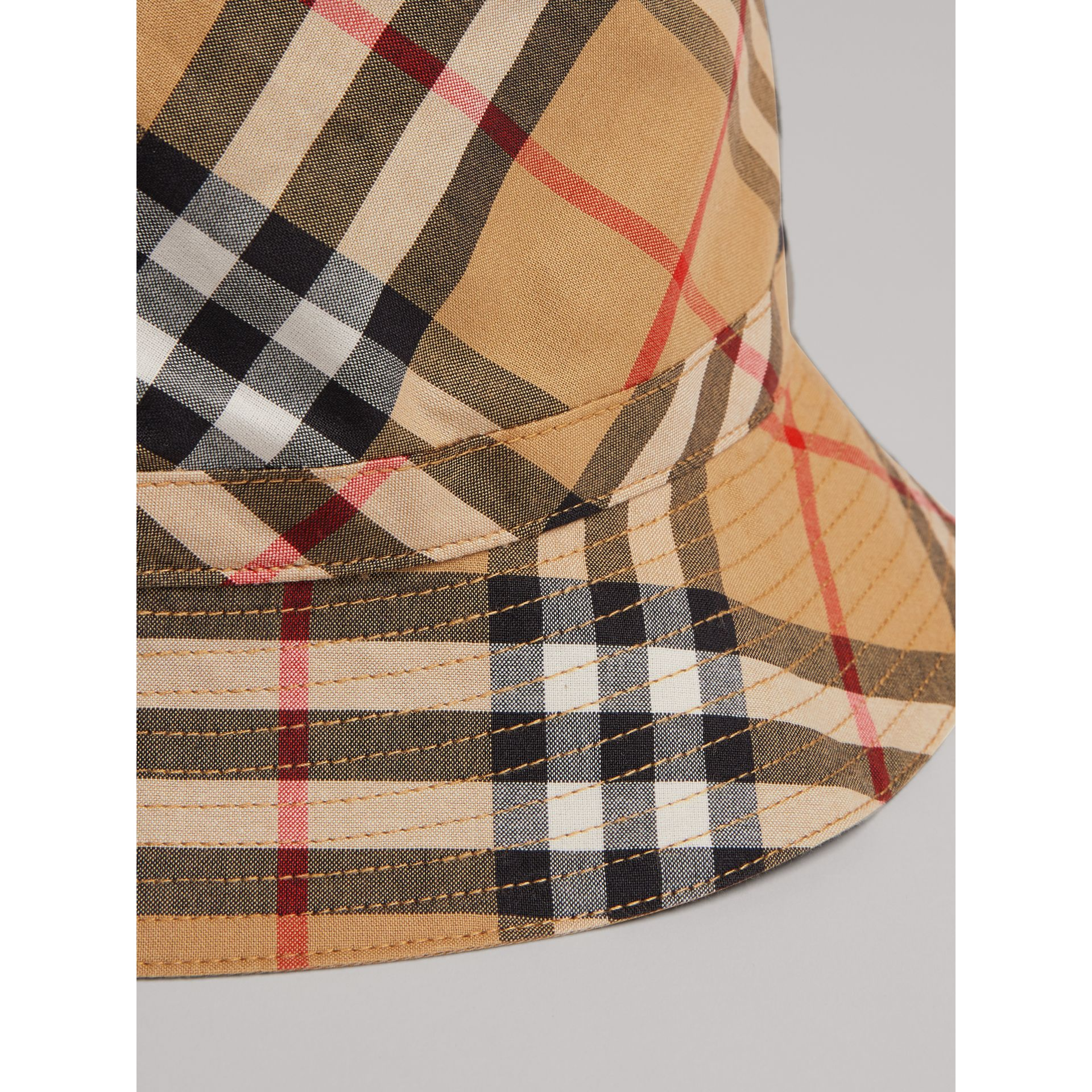 Vintage Check Bucket Hat in Antique Yellow | Burberry United Kingdom - gallery image 1