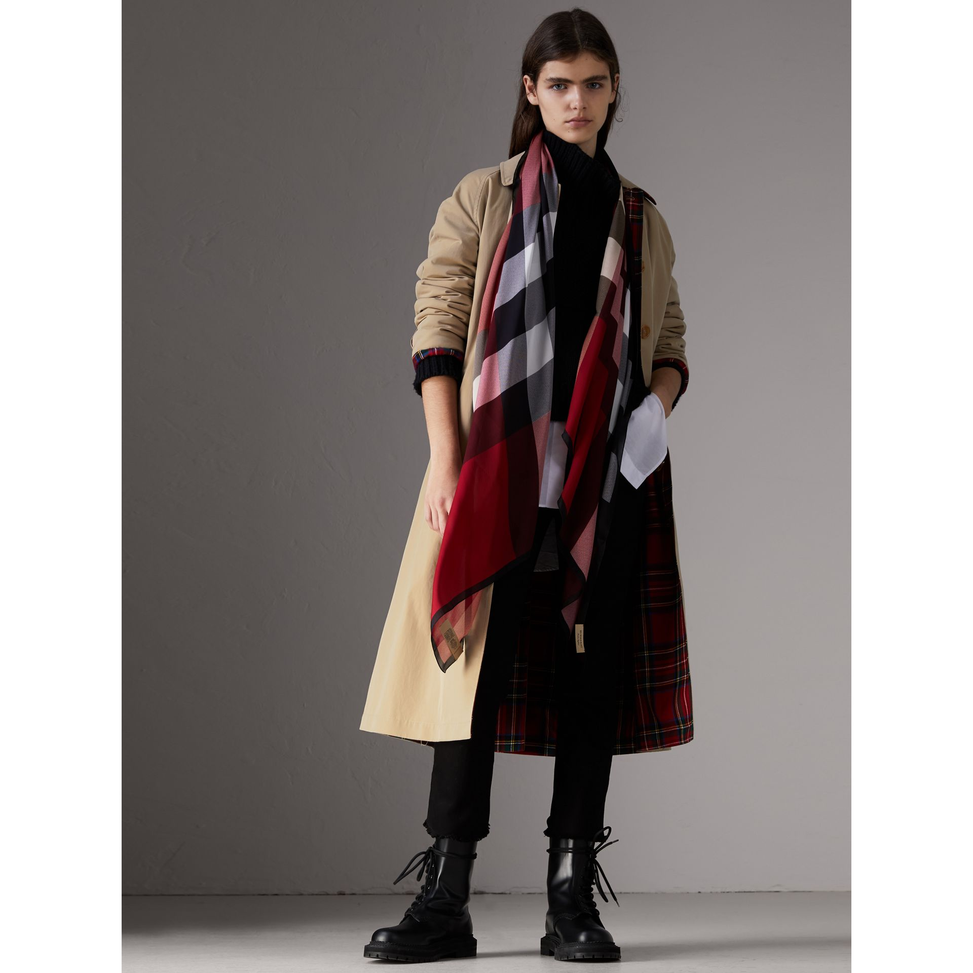 Lightweight Check Silk Scarf in Parade Red - Women | Burberry United States - gallery image 2