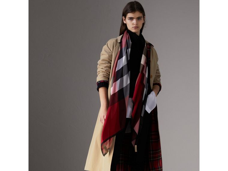 Lightweight Check Silk Scarf in Parade Red - Women | Burberry United States - cell image 2