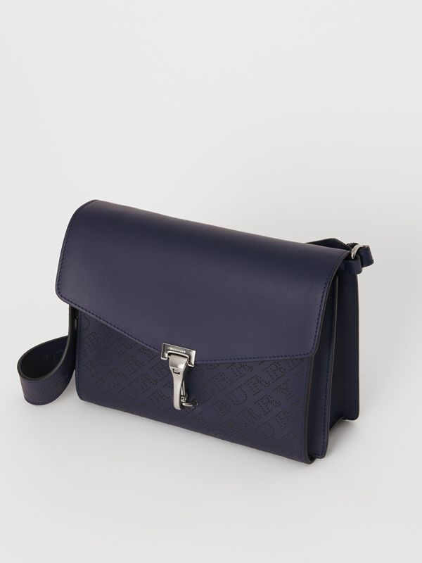 Small Perforated Logo Leather Crossbody Bag in Regency Blue - Women | Burberry - cell image 2