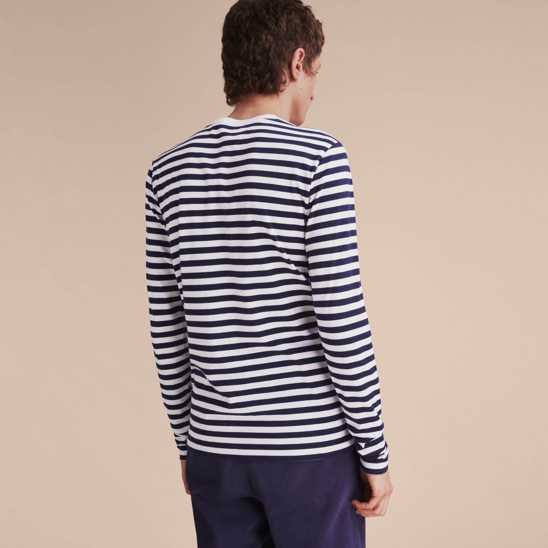 Unisex Breton Stripe Cotton Top with Lace Appliqué in Indigo - Men | Burberry - gallery image 5