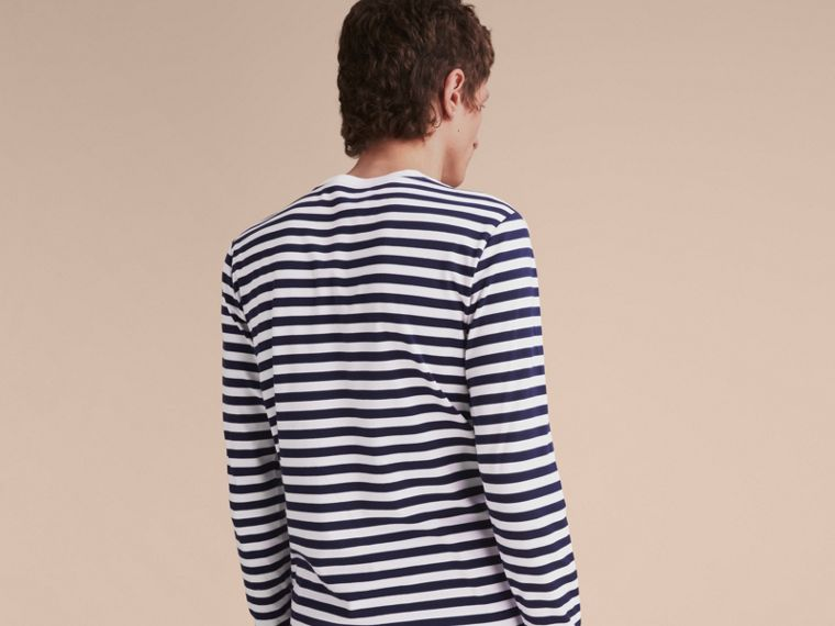 Unisex Breton Stripe Cotton Top with Lace Appliqué in Indigo - Men | Burberry - cell image 4