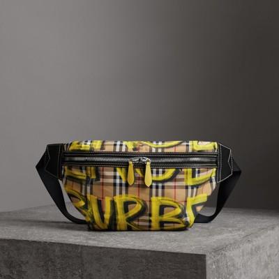 BURBERRY Sonny Graffiti Print & Vintage Check Medium Crossbody Sling Bag, Bright Yellow/Antique Yellow