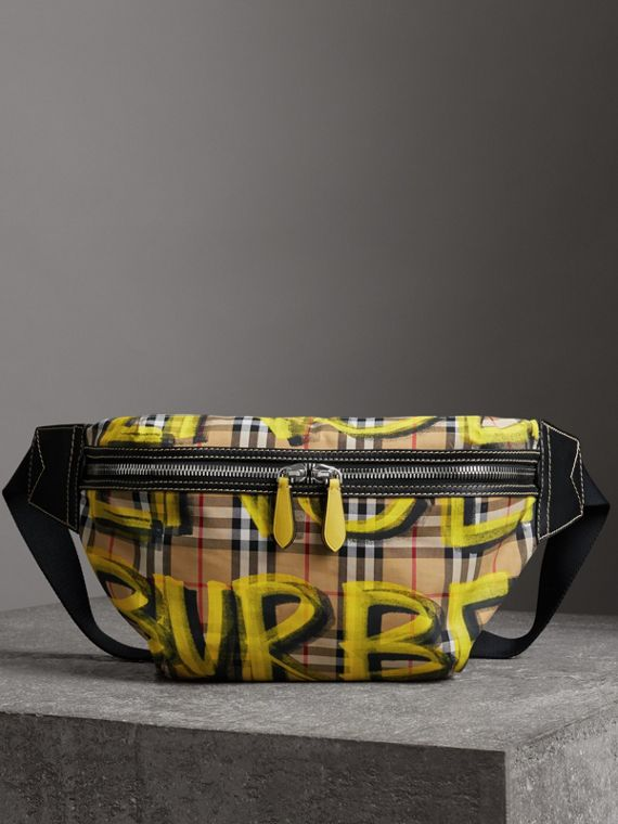 Large Graffiti Print Vintage Check and Leather Bum Bag in Bright Yellow/antique Yellow