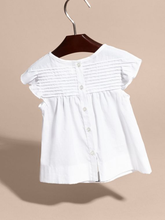 Pleat and Ruffle Detail Cotton Shirt - cell image 3