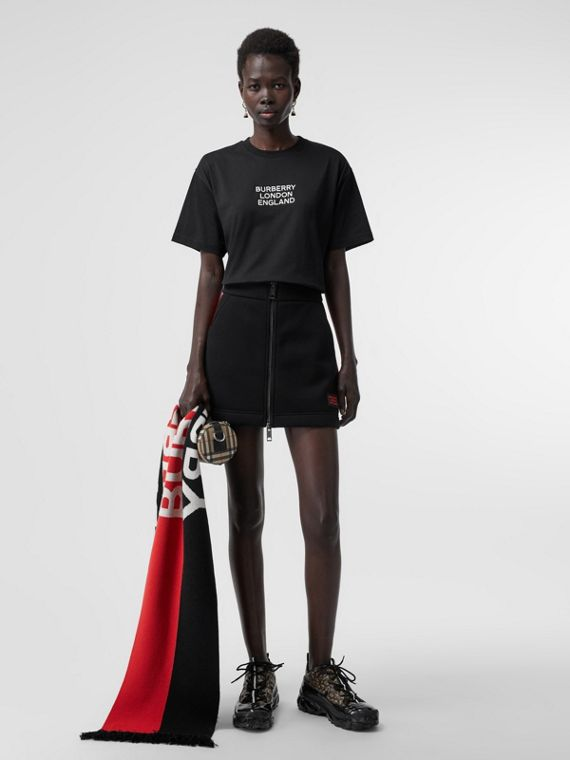 Extragroßes Baumwoll-T-Shirt mit gesticktem Logo (Schwarz)