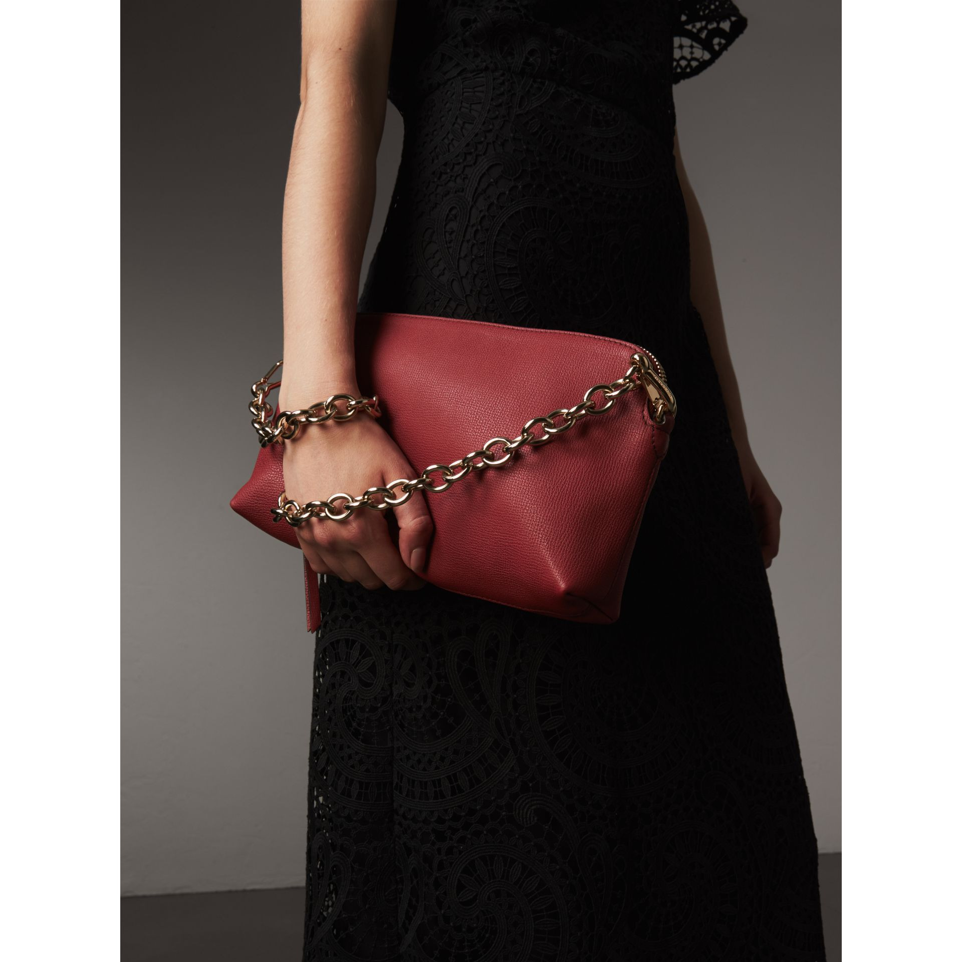Grainy Leather Clutch Bag in Russet Red - Women | Burberry - gallery image 4