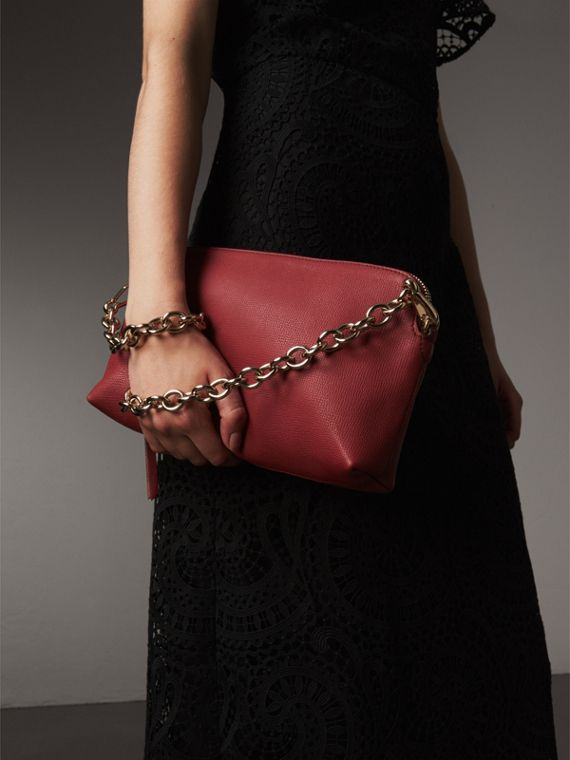 Grainy Leather Clutch Bag in Russet Red - Women | Burberry - cell image 3