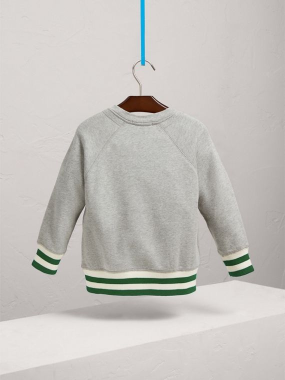 Contrast Stripe Cotton Jersey Sweatshirt in Grey Melange - Boy | Burberry Australia - cell image 3