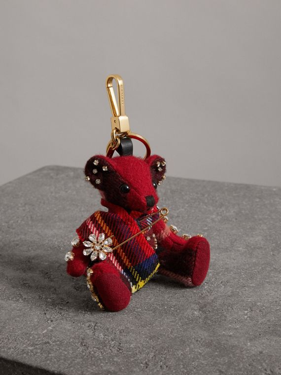 Thomas Bear Charm with Kilt Pin in Parade Red