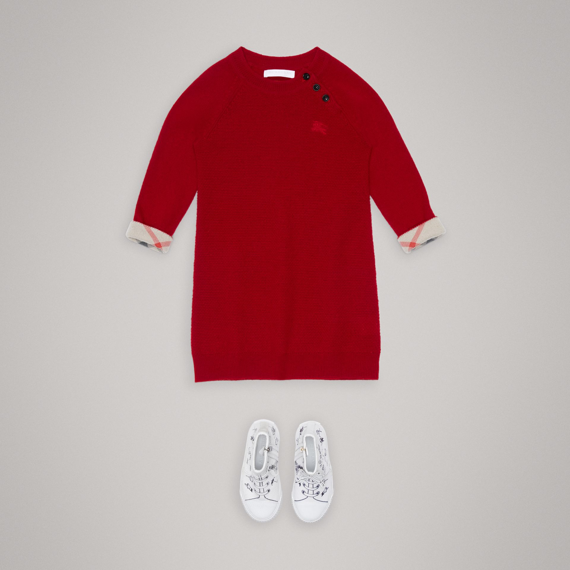 Cashmere Sweater Dress in Parade Red - Girl | Burberry United Kingdom - gallery image 2